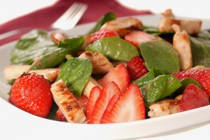 Strawberries, Grilled Chicken and Spinach Salad with Citrus Dressing