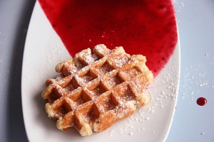 Belgian Waffle with Strawberry Sauce