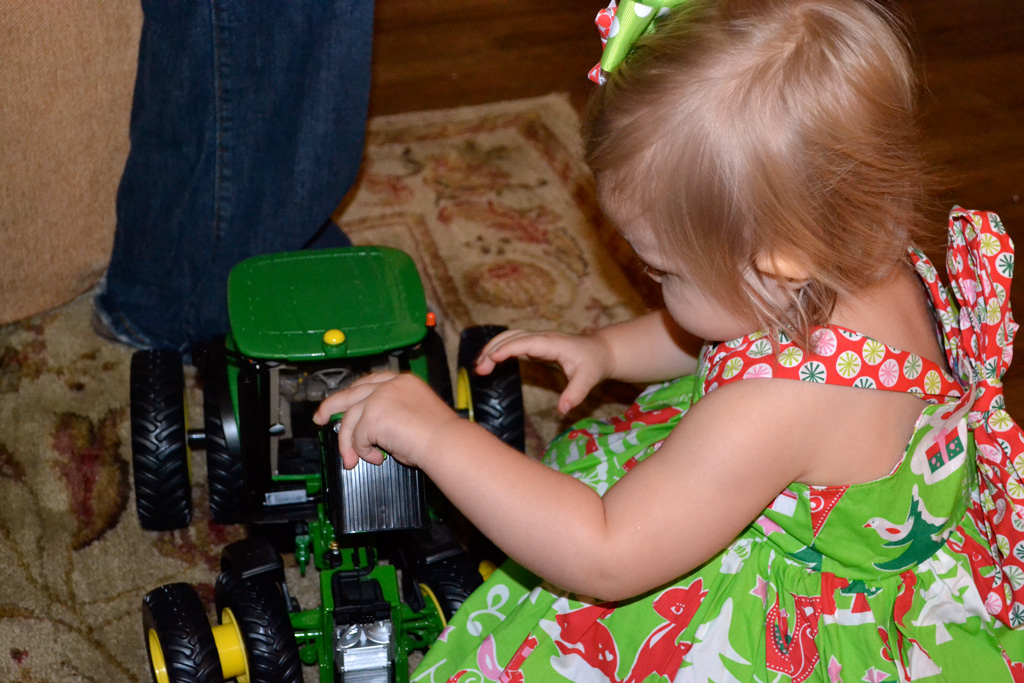Stevie and her John Deere Tractor