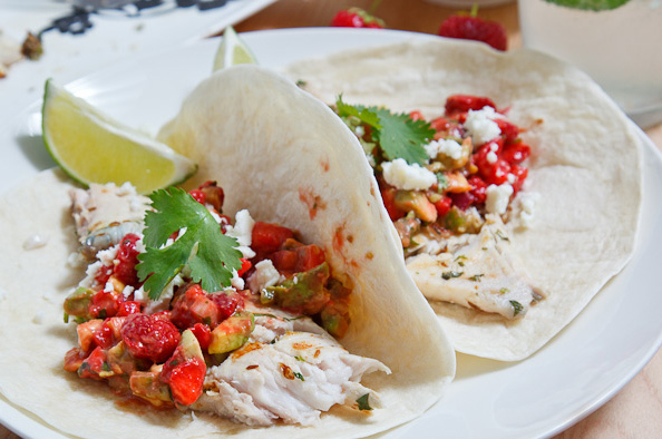 Mojito Grilled Fish Tacos with Strawberry and Avocado Salsa ...