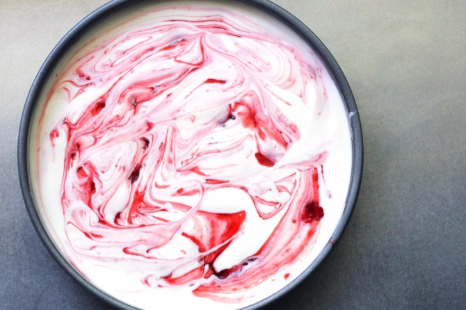 Strawberry-infused bourbon sauce swirled into ice cream mixture.