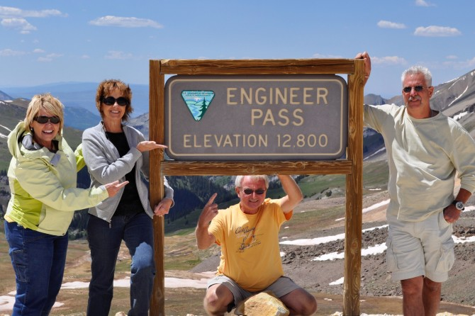 Sue, Sandy Mike and Mark at Engineer Pass in Colorado